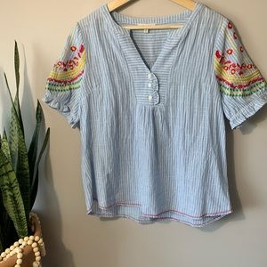 Skies are Blue Anthro Embroidered Top